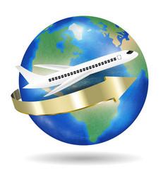 white aeroplane fly travel around world vector image