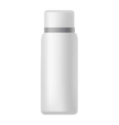 white bottle with silver line on cover isolated vector image