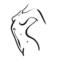 Woman body minimal line silhouette in profile vector
