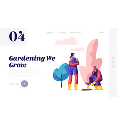 woman gardener with shovel planting tree web page vector image