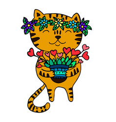 cute ginger cat with a wreath of flowers on his vector image