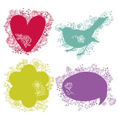 Flower Decorated Signs and Speech Symbols vector image