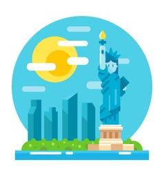 Liberty statue flat design landmark vector image