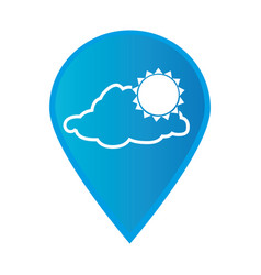 Mark icon pointer gps with silhouette cloud and vector