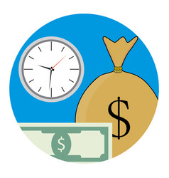 money and time icon vector image vector image