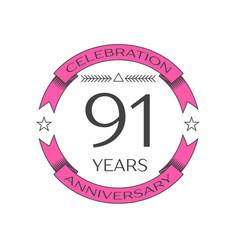 Realistic ninety one years anniversary celebration vector