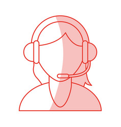 red shading silhouette cartoon half body faceless vector image vector image