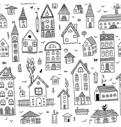 black houses seamless pattern vector image