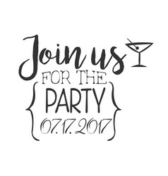 cocktail party black and white invitation card vector image vector image