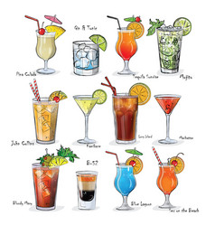 collection of popular cocktails for the menu vector image
