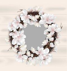 magnolia floral wreath frame card place vector image
