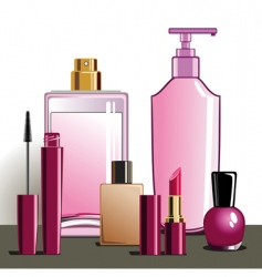 makeup and beauty products vector image vector image