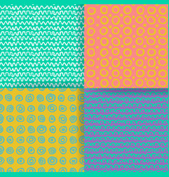 set of 4 seamless pattern hand drawn textures vector image vector image