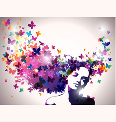 woman with butterflies flying from her hair vector image vector image