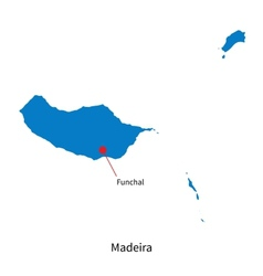 Detailed map of Madeira and capital city Funchal vector image