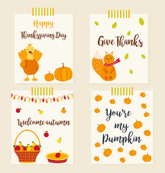 set of autumn cards with characters and elements vector image