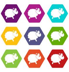 sheep icon set color hexahedron vector image