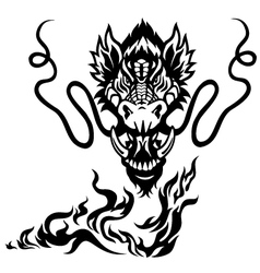 dragon head black white tattoo vector image