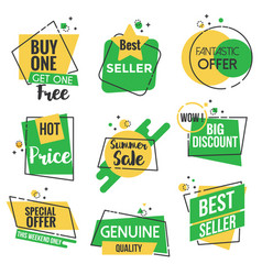 flat design origami labels - outline style vector image