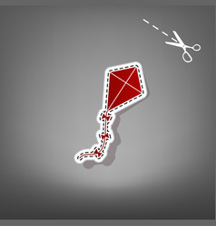 kite sign red icon with for applique from vector image vector image