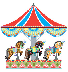 roundabout horse carousel vector image vector image