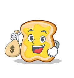 with money bag slice bread cartoon character vector image vector image