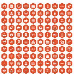 100 business group icons hexagon orange vector image