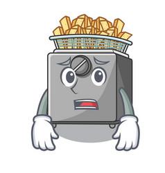 Afraid cooking french fries in deep fryer cartoon vector