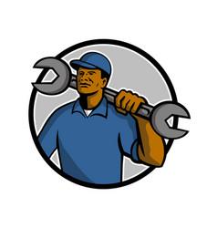 African american mechanic mascot vector