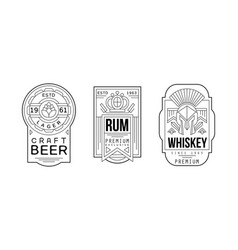 alcohol labels with beer rum and whiskey vector image