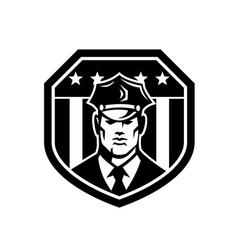 american policeman or security guard usa flag vector image