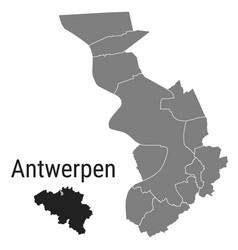 Antwerpen map antwerp districts administrative vector