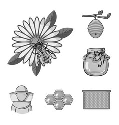 apiary and beekeeping monochrome icons in set vector image