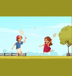 Badminton on lawn vector