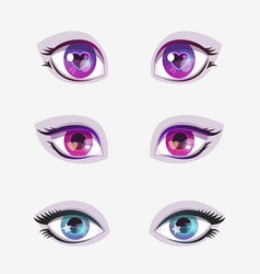 beautiful cartoon colorful eyes set vector image