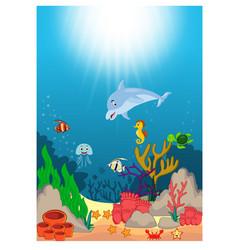 beautiful underwater world cartoon vector image