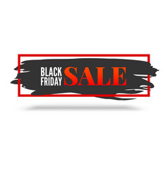 black friday sale abstract banner with red frame vector image