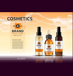 Body care cosmetic set serum oil and cream ads vector