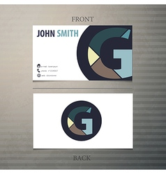Business card template letter G vector image