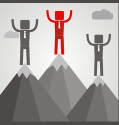 Businessman standing on top of mountain success vector
