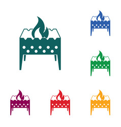 Camping brazier icon vector