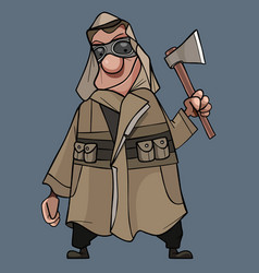 Cartoon man in a raincoat masked tent and with an vector