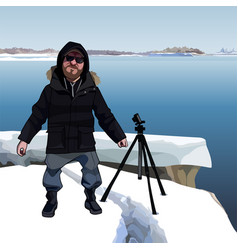 Cartoon man stands next to a tripod on the icy vector