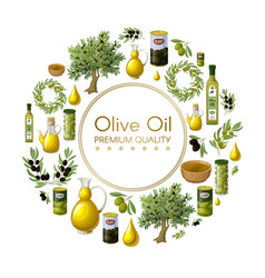 Cartoon natural olive oil round concept vector