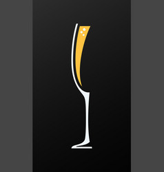 Champagne glass logo on black background vector