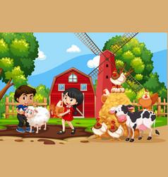 children in farm scene with animals vector image