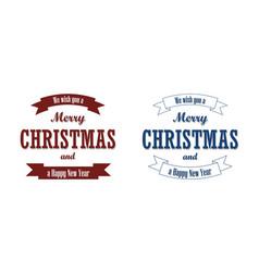 christmas blue text ribbon set merry vector image