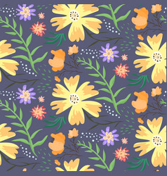Contrast floral summer pattern with orange flowers vector