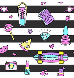 cool teenager things seamless pattern vector image