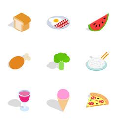 Cuisine menu icons isometric 3d style vector